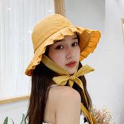 قبعة الإناث اليوم الصلبة اللون الدانتيل قبعة صياد الأدبية حوض الرجعية قبعة طالب الحماية من أشعة الشمس قبعة الشمس المد