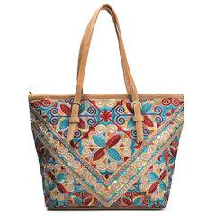 Brenice sac à main cabas vintage national gaufré à fleur sac de shopping motif géométrique