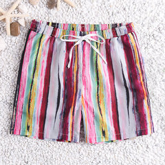 Mens Multi Color Stripe Board Shorts Mesh Liner Quick Dry Casual Surf Beach Shorts