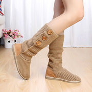 Women Foldable Knitted Ankle Casual Flat Woolen Boots