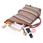 Brenice National Printing Canvas Shoulder Bags Vintage Bohemia Button Crossbody Bags
