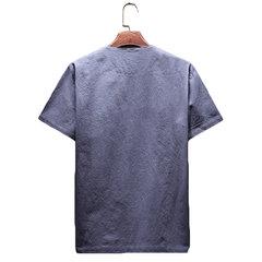 Mens Tees en lin japonais confortables couleur unie régulière T-shirts occasionnels