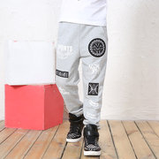 Letters Printed Cotton Casual Boys Sports Trousers
