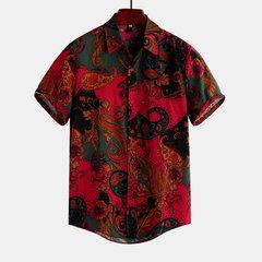 قميص طباعة الأزهار نمط العرقية للرجال رفض طوق قميص قصير الأكمام