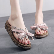 Bowknot Lace Decoration Sweet Clip Toe Summer Slippers