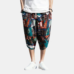 Mens Summer Comfortable Casual Chinese Style Printed Wide Leg Pants
