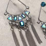 Elegante Quaste Ohrringe Strass Kristall lange Ohrringe