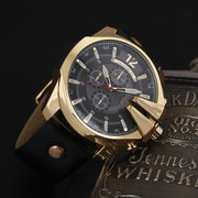 Big Dial Calendar Date Mens Watches Luxury Business Genuine Leather Strap Gold Watches for Men
