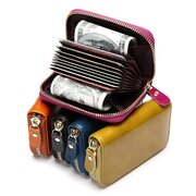 Vintage Waxy Genuine Leather Multi-slots Card Holder Coins Bag Purse Wallet