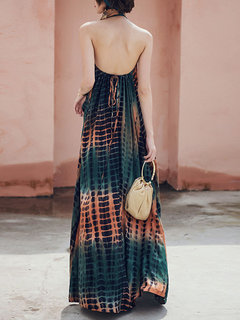 Hanging Neck Split  Backless Long Dress