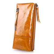 Women Oil Leather Card Holder Wallets Genuine Leather Phone Bag