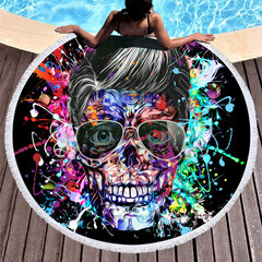 Creative Abstract Skull Pattern Microfiber Round Shape Beach Towels Adult Yoga Mat Tassels Blanket
