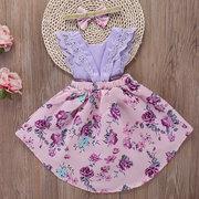 2 Pcs Floral Da Criança Meninas Verão Rendas Flor Pageant Party Dress + Cabelo Banda Para 2Y-9Y