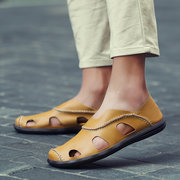 Men Hand Stitching Hole Breathbale Slip On Flat Casual Leather Loafers