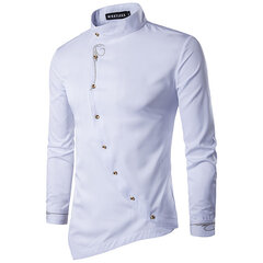 Casual Personality Embroidery Oblique Irregularity Buttons Long Sleeve Dress Shirts for Men
