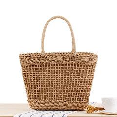 Mulheres portátil oco tecido bolsa de viagem cesta de palha à moda Bolsa