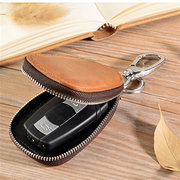 Genuine Leather Retro High Capacity Keychain Business Casual Heart Shape Coin Bag For Men