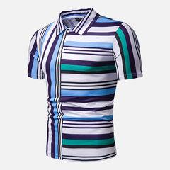 Chemises de golf confortables à rayures multicolores pour hommes avec col rabattu et manches courtes
