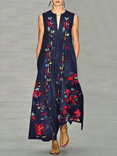 Bohemian Floral Print Sleeveless V-neck Plus Size Maxi Dress