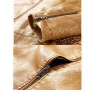 Mens veste en cuir PU doublure épaisse épaissie chaude épaule plissée veste décontractée