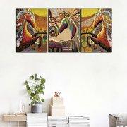 3Pcs Гостиная Безрамная живопись Абстрактная красочная живопись лошади Украшение Холст Живопись