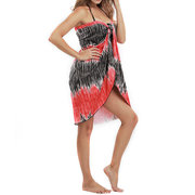 Womens Summer Beach Multi-function Silk Maxi Dress Vintage Swimsuit Cover Up Bikini