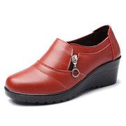 Chaussures de Loisir Souples Couleur Pure à Talon Compensé