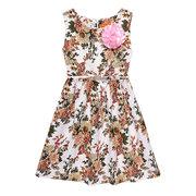 Cotton Floral Print Tie Sleeveless O-neck Dress For Kids Girls