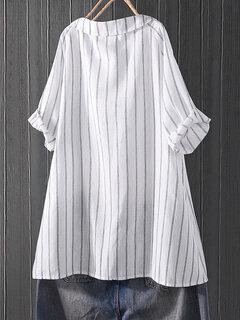 Camicetta casual a manica corta a righe con risvolto per le donne