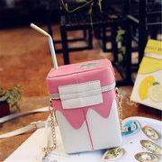 Mädchen Umhängetasche aus PU Leder in Milchboxform Handytasche mit Minigröß Stickerei