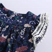 Платья для девочек с цветочным принтом Kids Fly с коротким рукавом для 2Y-11Y