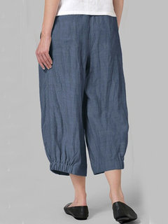 Casual Pleated Elastic Waist Plus Size Wide Leg Pants