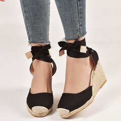Big Size Women Casual Flax Closed Toe Espadrille Wedges Lace Up Sandals