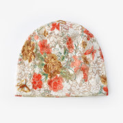 Women Flowers Cotton Lace Beanie Hat Ethnic Vogue Vintage Good Elastic Breathable Turban Caps