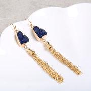 Moda resina pedra dourada borlas brincos boêmio dangle brincos para as mulheres