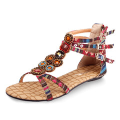Women Shoes Bohemia Flat Bead Zipper Canvas Sandals