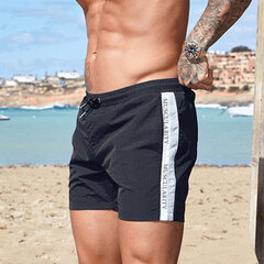 Mens Board Shorts Beach Sports Running Waterproof Fashion Solid Color Striped Drawstring Trunks