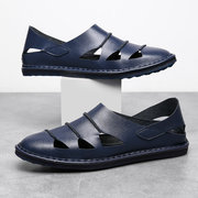 Large Size Men Stitching Hollow Out Soft Sole Slip On Casual  Leather Sandals