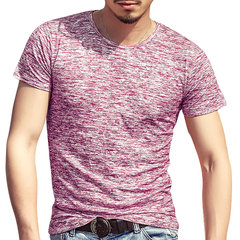 Mens Summer Cotton Breathable Solid Color Short Sleeve Slim Fit Casual T Shirt