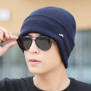 Mens Winter Warm Solid Knitted Stripe Hat Casual Skullies Beanie Hat Ear Protection Windproof Cap
