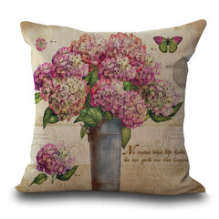 Retro Style Flower Cushion Cover Linen Sofa Decoration Pillowcase