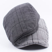 Men Women Cotton Grid Beret Hat Casual Outdoor Sunshade Hat Forward Peaked Adjustable Hat