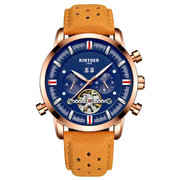 KINYUED Blue Calendar Automatic Mechanical Watches Mens Business Genuine Leather Watches