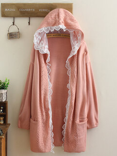 Lace Patchwork Knit Hollow Solid Color Casual Cardigan