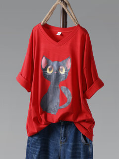 T-shirt di mezza manica a maniche lunghe stampata Cartoon Cat Print Plus