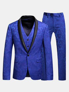 Three Pieces Printing Business Suit Wedding Banquet Club Stage Lapel Blazer for Men