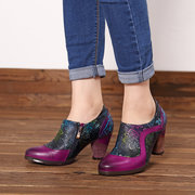 SOCOFY Color Match Genuine Leather Splicing Flowers Pattern Stitching Chunky Heel Zipper Pumps