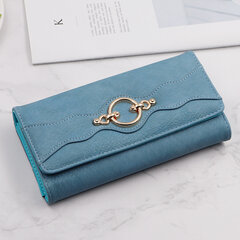 Women Faux Leather Solid Multi-function Long Wallet 12 Card Slots Phone Clutch Bags