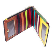 Women Vintage Bifold Genuine Leather Patchwork Long Wallet