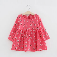 Breathable Cotton Printed Girls Dress Long Sleeve High Waist Dresses for Kids Toddler Girl 2-9 Years